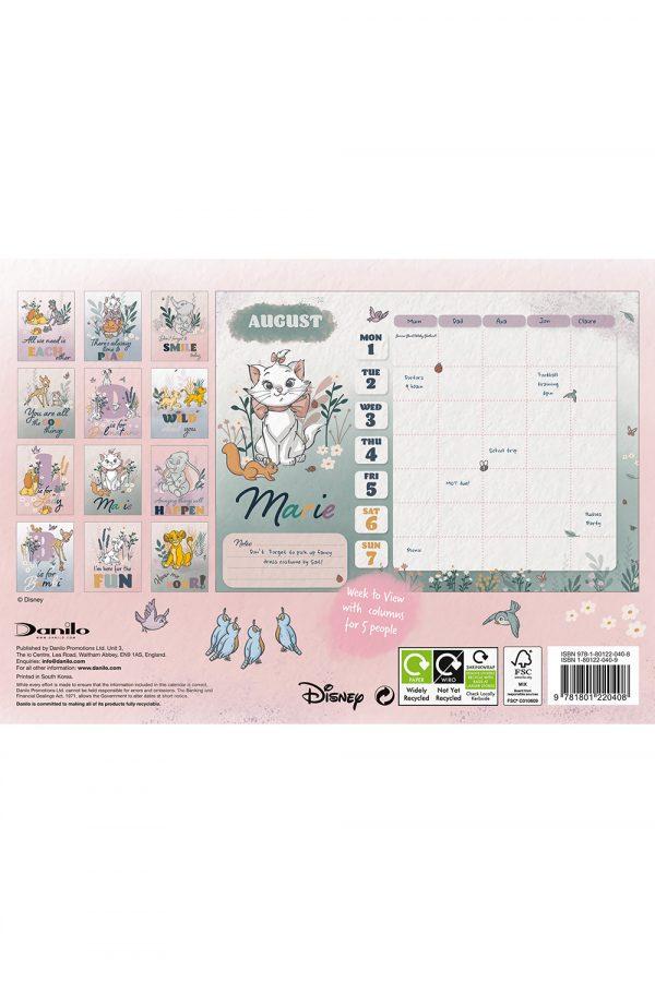 Disney Heritage 2022 Family Organiser A4 Wall Calendar BACK
