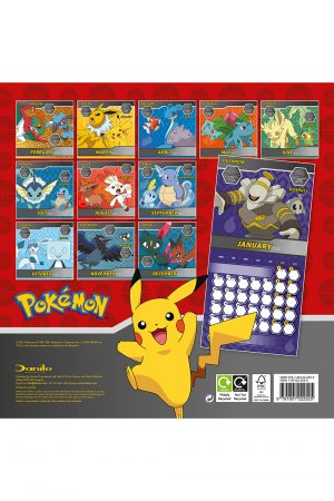 Pokemon 2022 Square Wall Calendar BACK