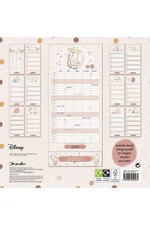 Winnie The Pooh 2022 Family Organiser Wall Calendar BACK
