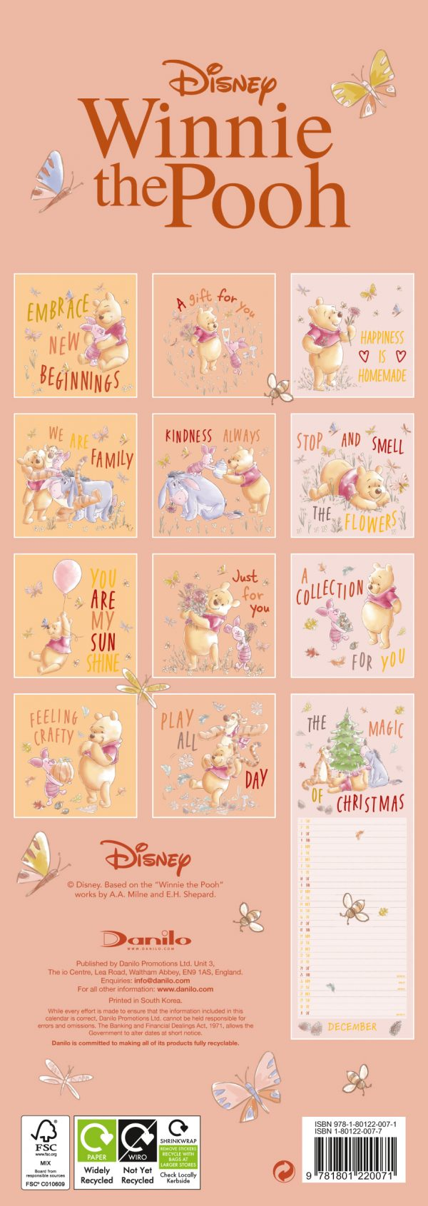 Winnie The Pooh 2022 Slim Wall Calendar BACK