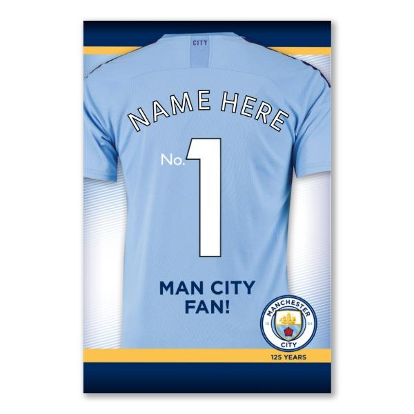 Manchester City Number 1 Fan Personalised Father's Day Card
