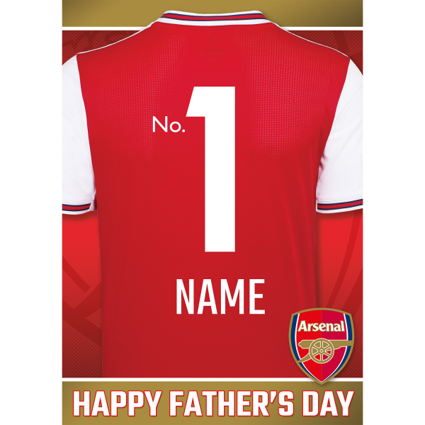Personalised Arsenal Shirt Father's Day Card options