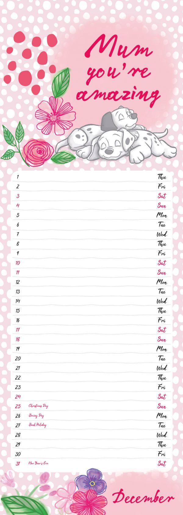 Disney For My Mum 2022 Slim Wall Calendar INS