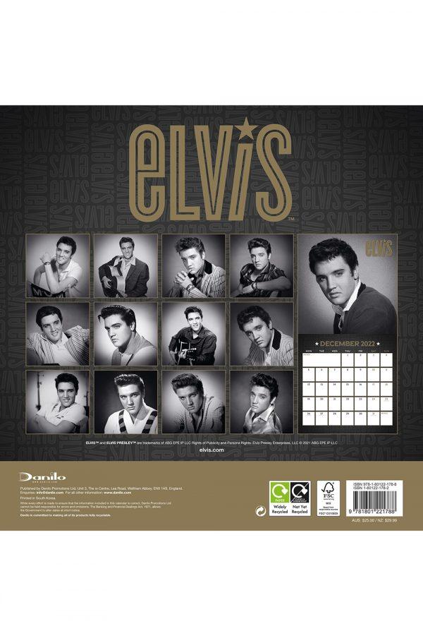 Elvis Presley 2022 Square Wall Calendar BACK