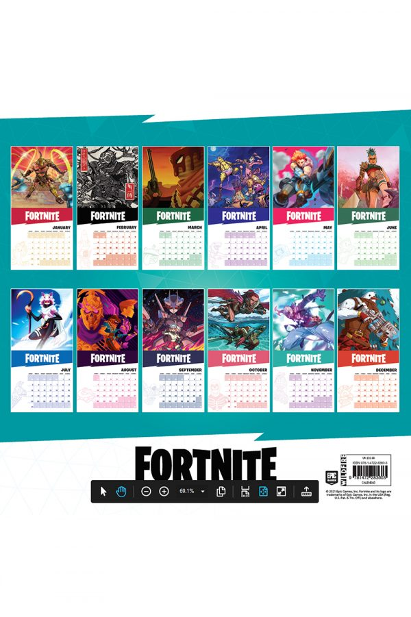Fortnite 2022 Square Wall Calendar BACK