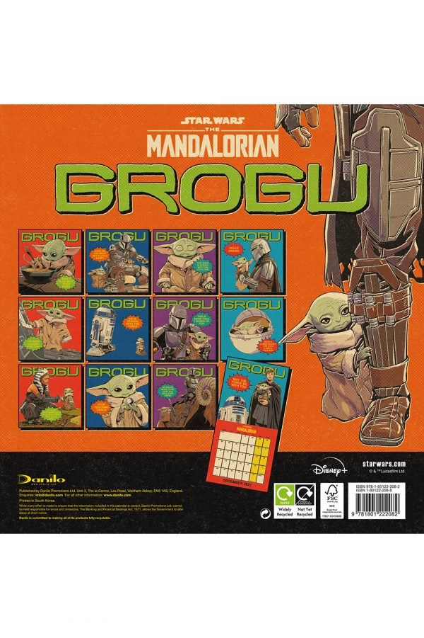 The Mandalorian: The Child 2022 Square Wall Calendar BACK