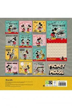 Disney Mickey Mouse 2022 Square Wall Calendar BACK