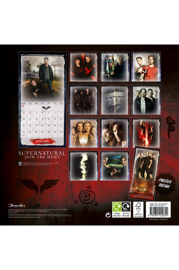 Supernatural 2022 Square Wall Calendar BACK