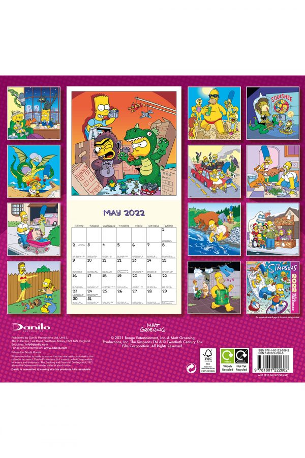 The Simpsons 2022 Square Wall Calendar BACK