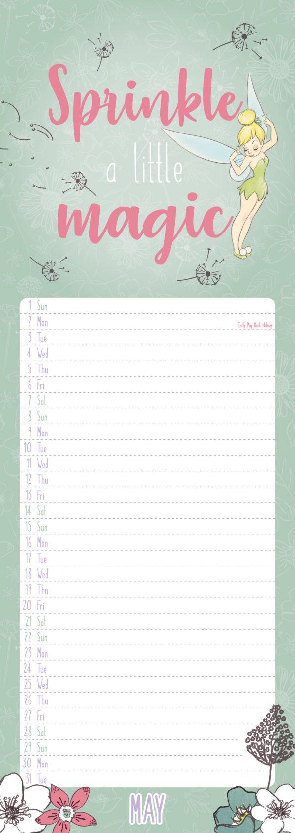 Disney Tinkerbell 2022 Slim Wall Calendar INS